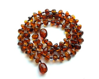 "14.8"" Natural Baltic Amber teenager necklace, amber child neclace, polished beads,cherry cognac amber necklace, rounded beads"