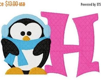 SALE Baby Its Cold Penguin 5x7 Machine Embroidery Monogram Font Design Set