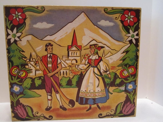Folk Treasure Box - Scandinavian Bavarian German Swiss - Folk Storage Box - Document Box - Brides Box - Antique