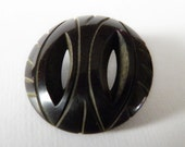 Bakelite Black Button Pierced Carved