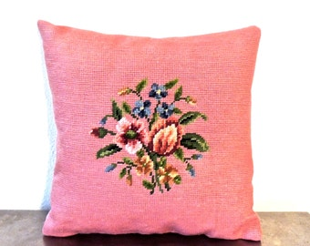 vintage pink needlepoint throw pillow - 1950s-60s floral pillow