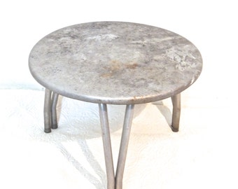 vintage steel coffee table - 1950s-60s mid century industrial round table