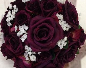 Rustic Plum Bridal Bouquet, Silk Plum Wedding Flowers, Burlap Plum Bridal  Flowers