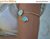 VALENTINES SALE Upper Arm Cuff /// Lux Divine Double Turquoise Gemstone Arm Wrap/// Gold