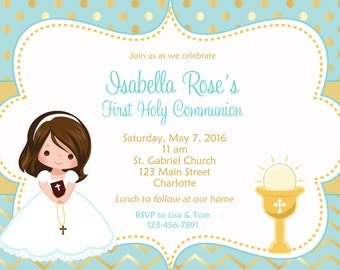 First Communion Invitation Holy Communion Invitation Holy Communion Chalice - Choose  Girl