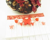 Jeweled Sewing Pins in Red with Butterflies and Flowers