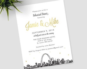 St. Louis Skyline Rehearsal Dinner invitations, can be customized for any occasion; includes matching envelopes and return address printing