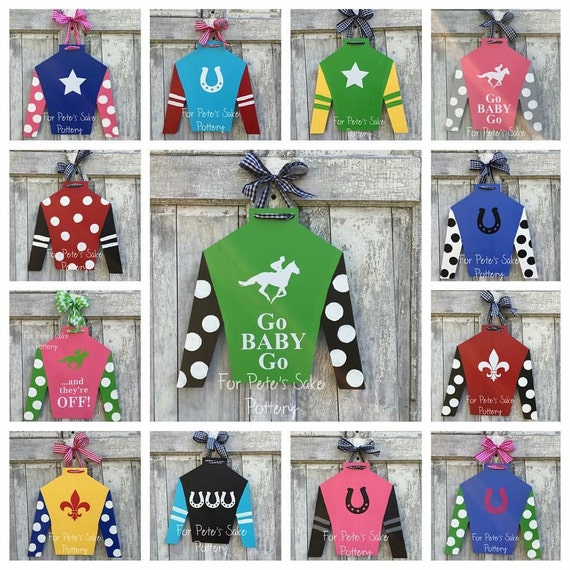 KENTUCKY DERBY jockey silk, door hanger, Custom silk door hanger, jockey silk door hanger, KY Derby decoration, Kentucky Derby party