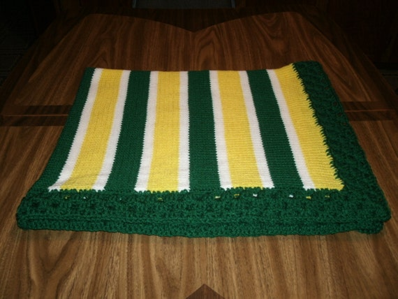 Crochet Pattern Green Bay Packer Afghan : Knit Green Bay Packers Fan Baby Blanket / Afghan / Lapghan