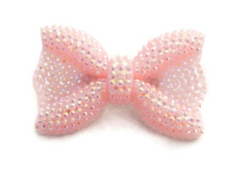 Pink Bow Brooch, Sparkly Bow Pin, Iridescent Rhinestone, Pin up, Vintage Inspired, Retro