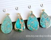5% OFF Gemstone pendant Emperor Jasper pendant 24kt,Gold Plated Edge Jasper slice pendant in turquoise color, jewelry making JSP- 6540