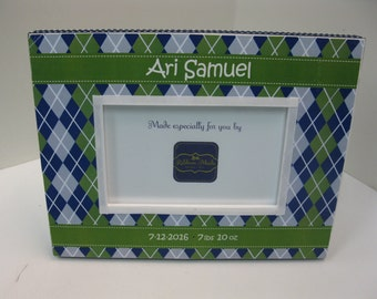 Baby Boy Navy Gray and Green Argyle Personalized Birthdate Frames