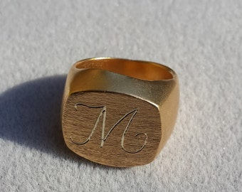 Engraving On a Ring- one letter- Signet Gold Ring// Graduation Ring// College Ring// High School Ring// Class Ring-engraving