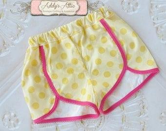 Toddler Shorts, Girls Polka Dot Shorts, Yellow Shorts, Toddler Girls Shorts, Pineapple Outfit, Polka Dot Shorts
