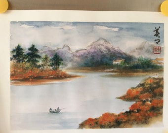 Watercolor Painting-Landscape of Grand Teton National Park