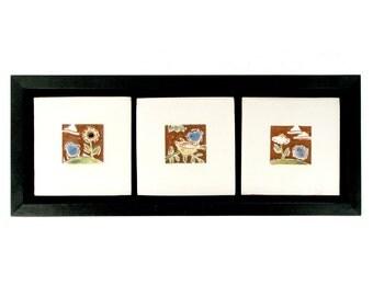 """3 framed hand carved ceramic tiles Birds in the Garden 4"""" x 12"""""""