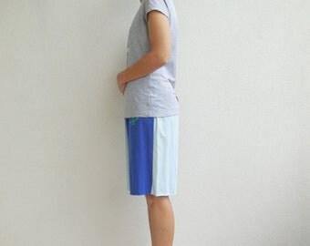 Blue T-Shirt Shorts Women's Shorts Recycled Upcycled Tee Shorts Drawstring Shorts Vacation Casual Shorts Cotton Tees Spring Summer ohzie