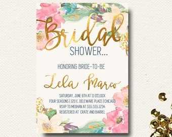 Bridal Shower Invitation Floral Gold Navy Indigo Blue Watercolor