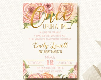 Baby Shower Invitation Floral Crown Roses Boho Chic Fairytale Once Upon a Time