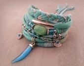 Mint Green Bohemian Bracelet, Turquoise Bracelet, Gypsy Bracelet, Seafoam Bracelet, Boho Bracelet Set, Horn Bracelet