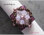 Beaded Ring PDF Pattern - Swarovski Purple Rose Pearl Flower Ring (RG118) - Beading Jewelry PDF Tutorial