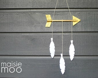 Arrow Feather Wedding Mobile - White Gold Baby Mobile - Tribal Wall Hanging - Metalic Gold and Pure White Felt - READY TO SEND