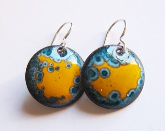 Colorful jewelry Yellow enamel drop earrings Small blue and yellow disc dangle earrings Ready to ship unique gift