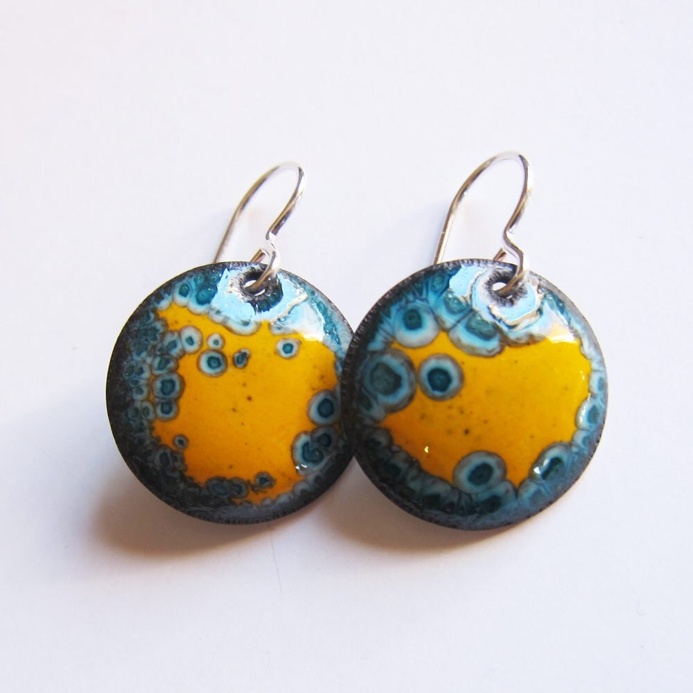 Small Blue Earrings: Yellow And Teal Enamel Drop Earrings Small Blue And Yellow