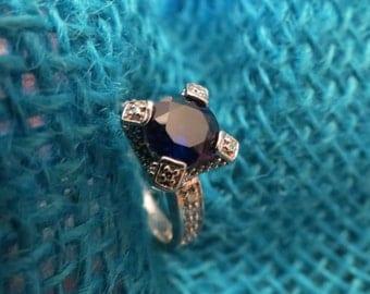 Faux Kashmir Sapphire & CZ Sterling Ring SZ 7 Quality