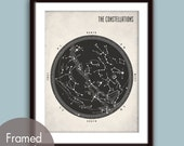 The Constellations - Star Map - Mod Art Print (Featured in Black on White Stone) Modern Astronomy / Outer Space Art Print