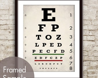 Vintage Eye Chart - Art Print (Featured in White Stone Grey) Optometrist Chart
