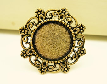 10 x Antique Gold Tone Rings With The Glass Domes - Adjustable 15mm Ring + Clear Cabochons Glass - Filigree Design