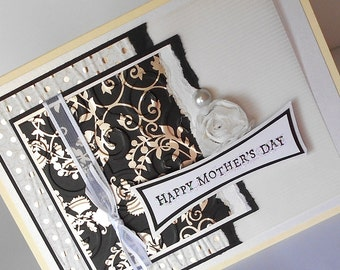 Mothers Day Greeting Cards:  Handmade Blank Note Card - Elegant Tea Party