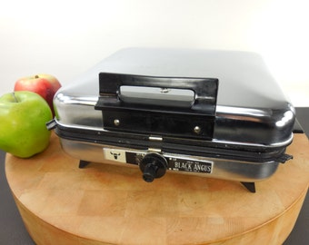 Black Angus Waffle Baker Maker Combo Griddle - Series 950 Teflon... Vintage Chrome 1960s