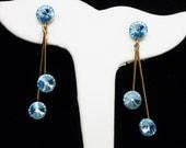 Blue Rivoli Rhinestone Earrings - Swings from  Goldtone Wire & Rivoli Clip on Base  - Blue Rhinestones