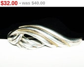 Vintage Sterling Brooch - Modernist Silver Ribbon or Wind Blown Scarf Pin - Modernist Abstract Jewelry
