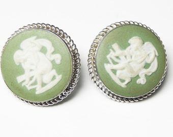 Van Dell Sterling Earrings - Green Wedgwood Signed Screwbacks - Made in England - Sterling Silver