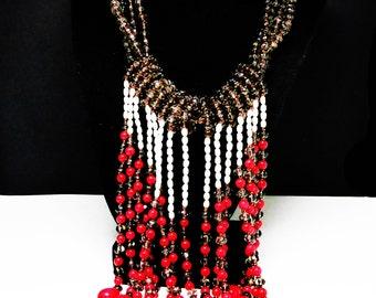 Retro Runway Bib Necklace - Amazing Statement Jewelry - Red, White & Brown Beads - Studio Artist Design - Beaded Baroque Pearls
