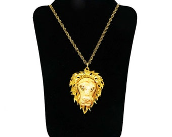 Razza Lion Pendant Necklace - Zodiac Leo - Designer Signed Goldtone King of the Jungle Figural Vintage Jewelry - Book Piece