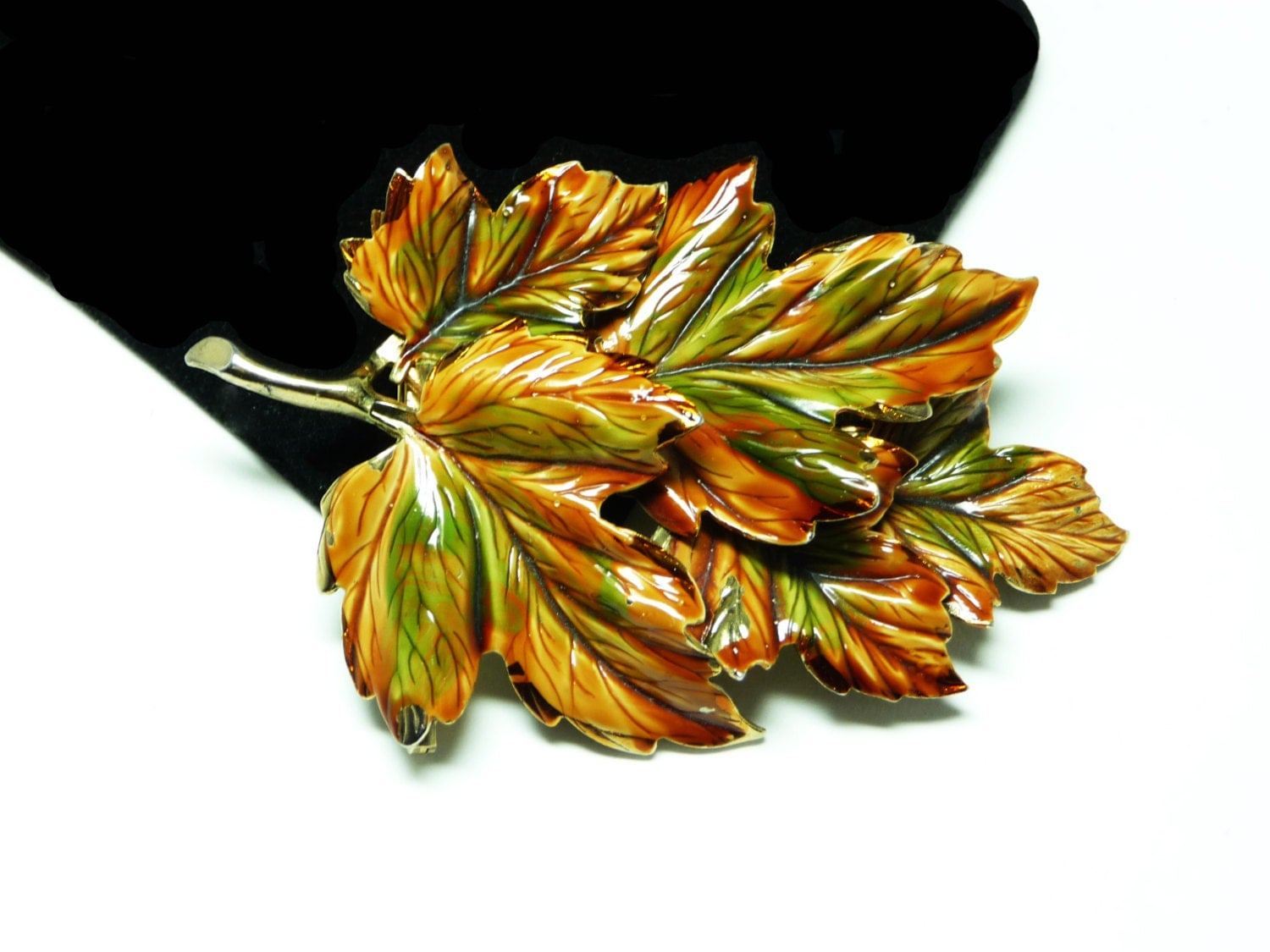 Weiss Enamel Leaf Brooch Large Leaves Pin Autumn Fall