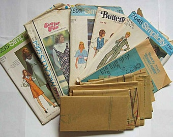 Sewing Ephemera Lot #9, 70's Vintage Envelopes, Incomplete Patterns, Simplicity, Pattern Pieces Tissue, Crafts, Collage, Decoupage