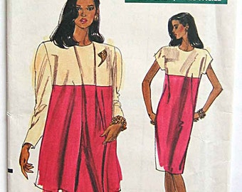 RARE Misses' Very Easy Color Block Dress and Jacket Vogue 7562 Sewing Pattern UNCUT Sizes 8, 10, 12