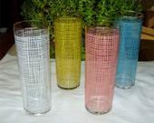 Set / 4 LEMONADE Tumblers by FEDERAL Glass 1960's