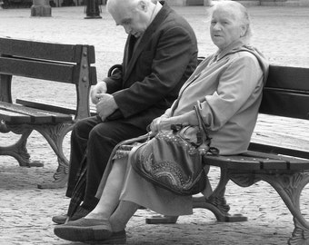 """Fine Art Black & White Photography of Elderly Couple in Poland - """"Waiting On a Bench"""" - Square Print"""