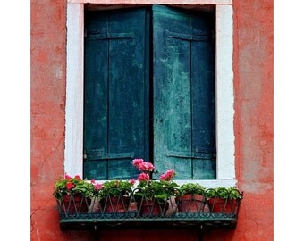 """Fine Art Color Travel Photography of Shutters and Window in Venice - """"Shutters and Flower Pots in Murano"""""""