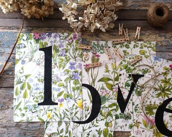 botanical LOVE decoration for romantic wedding, floral bunting handmade from vintage book pages