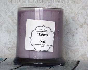 Blackberry and Sage Scented Soy Wax Jar Candle, Purple Soy Candle, Vegan container candle 12 oz Status Jar Candle