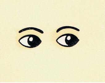 20 Pairs Dolls Eyes with Eyebrows (Ref 920) Toy Doll Making / Restoration Waterslide Transfers Decals, (Small)