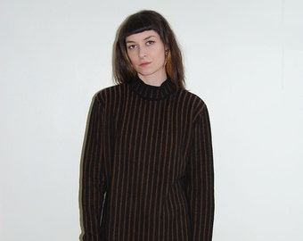 vintage black and brown stripe mock neck sweater / size small