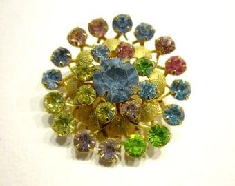 Pastel Rhinestone Brooch Pink Blue Green Circle Pin Vintage Under 5 Rhinestone Jewelry
